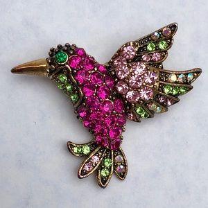Multi Color Rhinestone Hummingbird Brooch Vintage